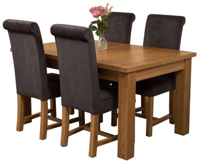 Seattle Extending Kitchen Solid Oak Dining Set Table & 4 Black Fabric Chairs