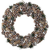 Large 60cm Snowy Pine Cone Christmas Wreath Decoration