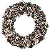 Large 60cm Snowy Pine Cone Christmas Wreath Decoration