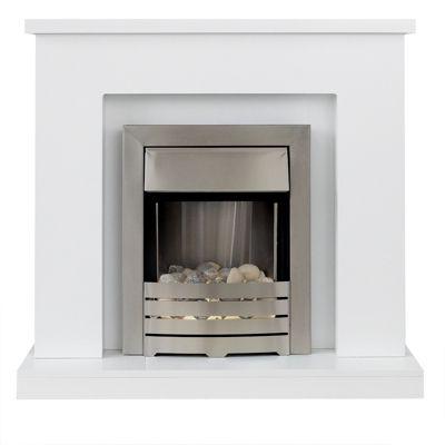Adam Lomond in Pure White Electric Fireplace Suite