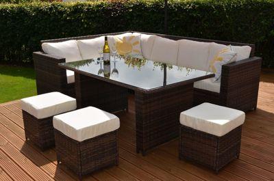 Granada Garden Rattan Corner Sofa Dining Set With Table Grey