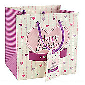 Pink and Purple Heart Happy Birthday Gift Bag