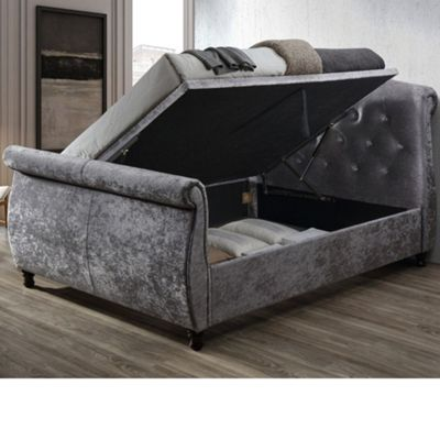 Happy Beds Toulouse Velvet Fabric Side Ottoman Storage Bed with Memory Foam Mattress - Steel - 4ft6 Double