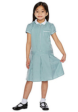 F&F School 2 Pack of Easy Care Gingham Dresses with Scrunchies - Green