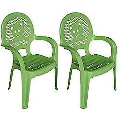 Resol Childrens Garden Plastic Chair - Green - (Pack of 2 chairs)
