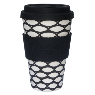 Ecoffee Cup Basketcase with Black Silicone 14oz