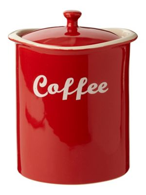 Linea Curve Coffee Jar In Red