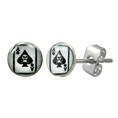Urban Male Ace of Spades Stud Earrings For Men In Stainless Steel 7mm