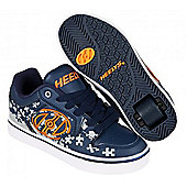 Heelys Motion Plus Navy/Grey/Orange Kids Heely Shoe - Blue