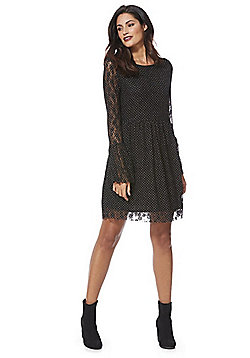 Mela London Spot Lace Fit and Flare Dress - Black