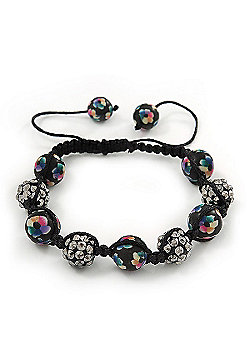 Black Acrylic/Diamante Bead Shamballa Bracelet On Black String - Adjustable