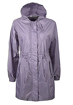 Breeze Womens Water Resistant Lightweight Hooded Rain Coat Jacket - Purple