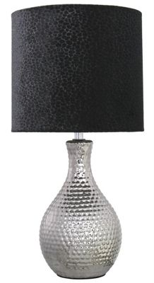 Chrome Dimple Table Lamp With 8 Inch Black Snakeskin Shade