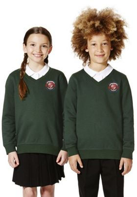 Unisex Embroidered Cotton Blend School V-Neck Sweatshirt with As New Technology 7-8 years Bottle green