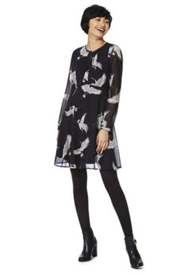 Only Heron Print Long Sleeve Dress Navy 6