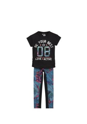 F&F Active Slogan Top and Mesh Print Leggings Set Black/Multi 5-6 years