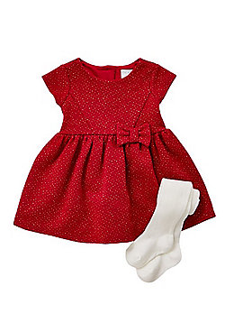 F&F Sparkle Christmas Dress with Tights - Red