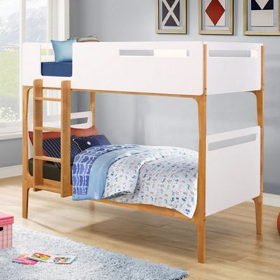 Happy Beds Islington Wood Kids Bunk Bed with 2 Pocket Spring Mattresses - White - 3ft Single