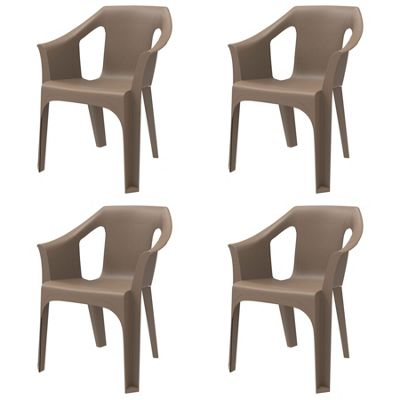 Resol Cool Designer Plastic Home Garden Outdoor Armchair - Chocolate - Pack of 4