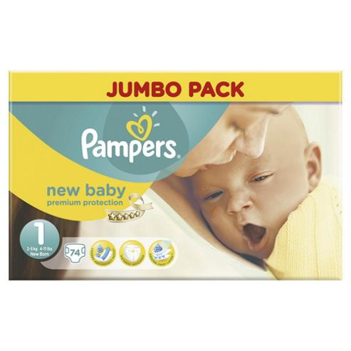 Pampers New Baby - Size 1 - Jumbo Pack - 74 Nappies