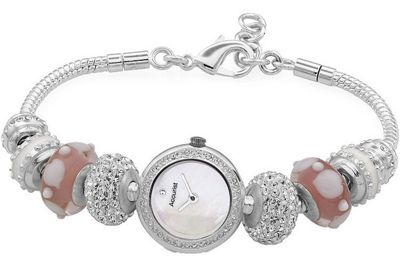 Accurist Charmed by Accurist Ladies Stainless Steel Enamel Beads Watch LB1602P