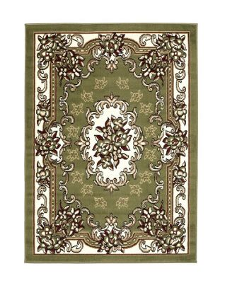 Oriental Carpets & Rugs Tabriz Green Traditional Rug - 60 cm x 115 cm (2 ft x 3 ft 9 in)