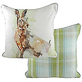 Evans Lichfield Jennifer Rose Gallery Watercolour Animals Filled Cushion | Lone Hare Design | Tartan Stirling Check