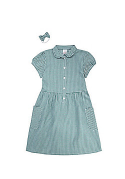F&F School Ruffle Collar Gingham Dress with Bow Hair Band - Green & White