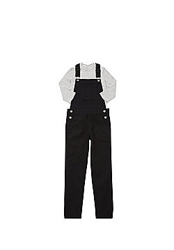 F&F Denim Dungarees and Striped Top Set - Black