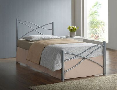Comfy Living 3ft Single Modern Metal Bed Frame in Silver