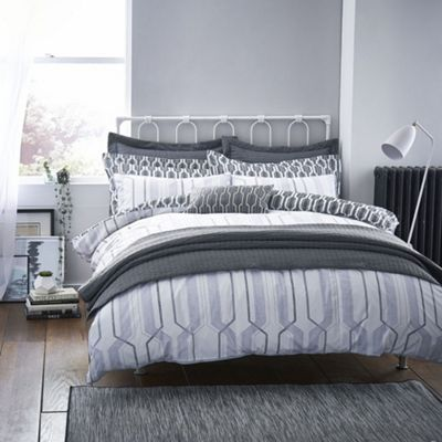 Bianca Cotton Soft Geo Cotton Print Grey Oxford Pillowcase
