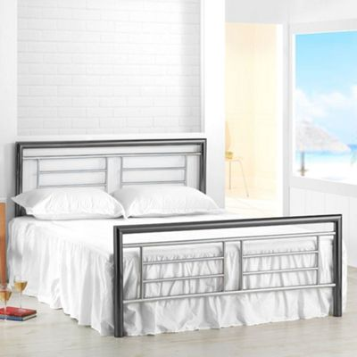 Happy Beds Montana Metal High Foot End Bed with Memory Foam Mattress - Chrome and Nickel - 4ft6 Double