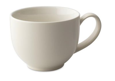 For Life Glazed Ceramic Q Tea Cup Mug with Handle | 295ml | Natural Cotton