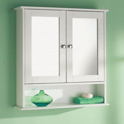 Wall Mounted White 2 Door Double Mirror Wooden Bathroom Cabinet Shelf Unit New
