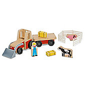 Melissa And Doug Classic Wooden Farm Tractor Play Set