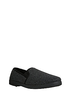 "F&F Dogtooth Closed Back Slippers with Thinsulate""™ - Grey"