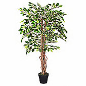 Homescapes 4 Feet Variegated Ficus Tree Artificial Plant