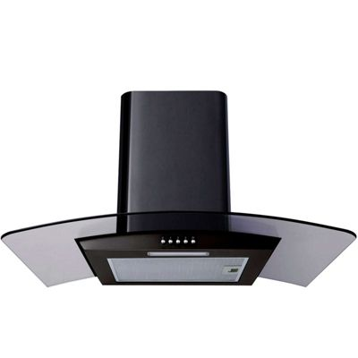SIA CPL61BL 60cm Curved Glass Black Cooker Hood Extractor Fan + 3m Ducting