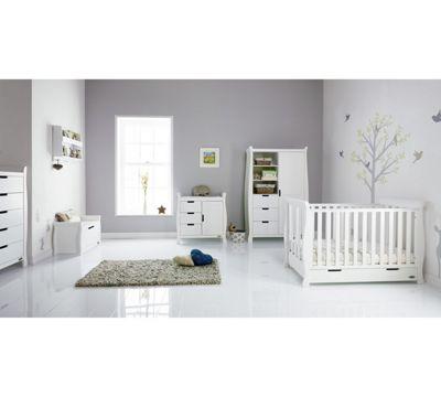 Obaby Stamford Mini 6 Piece Nursery Room Set (Sprung Mattress) - White