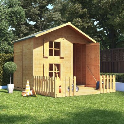 6x7 BillyOh Peardrop Extra Children Wooden Playhouse - Premium with Platform, Bunk and 4ft Picket Fence