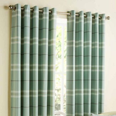 Homescapes Duck Egg Blue Tartan Design Curtains with Eyelet Header 66x54