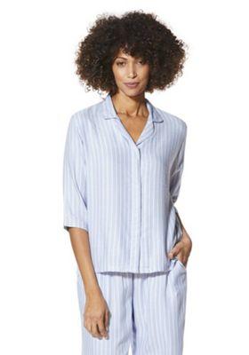 F&F Striped Woven Revere Collar Lounge Shirt 6 Light blue