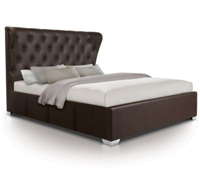 Contemporary Opulent Oversized Ottoman Gas Lift Storage Bed Upholstered in Faux Leather - Double - Brown