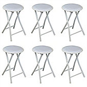 Harbour Housewares Round Compact Folding Stool - White - Pack Of 6