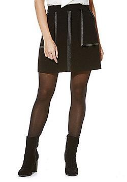 F&F Contrast Stitch Mini Skirt - Black