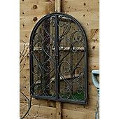 Large Scroll Outdoor Garden Wall Mirror With Doors 60cm X 48cm