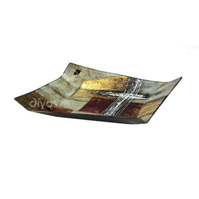 Aleta Glass Art 12 Inch Platter Multi-Colour