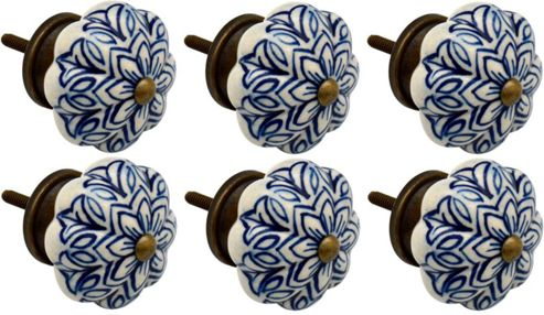 Ceramic Cupboard Drawer Knobs - Vintage Flower Design - Dark Blue - Pack Of 6