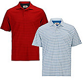 Woodworm Tour Stripe Mens Golf Polo Shirts - 2 Pack - Multi