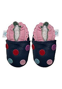 Dotty Fish Soft Leather Baby Shoe - Navy Multicoloured Spotty Dotty - Navy